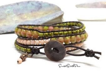 Triple Wrap Bracelet, Boho Wrap, Beaded Jewelry, Beaded Wrap, Beaded Bracelet, Leather Wrap Bracelet, Beaded Jewelry, Coral Wrap, Green Wrap