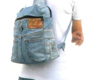 jeans backpack denim reclaimed jean bag rucksack backpack vintage bag Bohemian Bag upcycle bag Boho Hobo Handbags Hippie Gift Bags