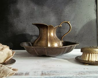 Brass Vanity Set Pitcher Bowl Mirror Hair Brush Shabby Chic Bedroom Decor Cottage Style Vanity Accessories Victorian Dressing Bathroom