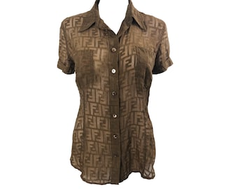 FENDI Vintage Zucca Monogram Brown FF Logo Print Short Sleeve Shirt Sheer Blouse Top