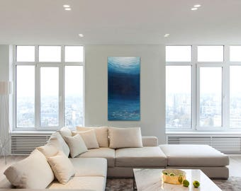 Underwater Scene, Large Blue Painting, Seascape, Ocean Painting, Original Large Oil Painting, Ocean Art, Beach Art, Coastal Painting