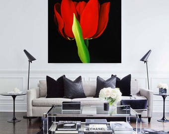 Original oil painting,red flower,red tulip,floral,eva ciuti,interior design realistic painting,contemporary art,living room,home decor