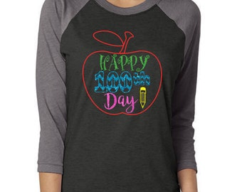 Glitter 100th Day of School 3/4 Sleeve Shirt