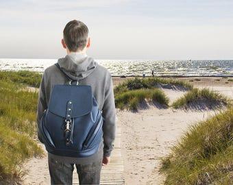 Leather backpack navi travel purse large dark blue shoulder bag  big unisex backpack travelers gift cow leather rucksack men's knapsack