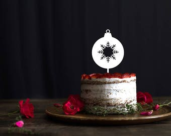 Christmas cake topper, holidays cake topper, Christmas Ornament Ball Cake Topper, Holiday Birhday cake topper, Christmas Ornament Ball decor
