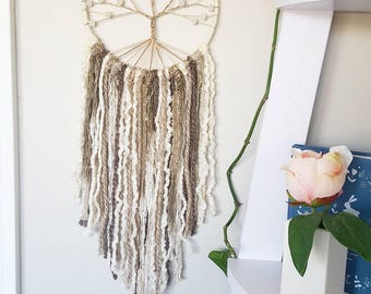 Tree of life dreamcatcher, tree dream catcher, large dreamcatcher, white rustic baby nursery dreamcatcher, dream catcher, dreamcatcher