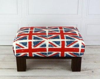 Union Jack Ottoman   British Furniture   Union Jack Foot Stool   Bristish  Decor   Union