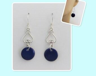 Beautiful Cobalt Blue Enamel Sterling Silver Earrings