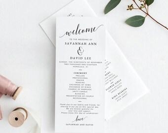 Wedding Program Template, Printable Wedding Program, Wedding Program Printable, Programs For Wedding, Wedding Ceremony Program Template