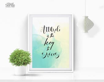 Attitude is the Key of Success, Motivational Print, Inspirational Print, Typography Print, Motivational Quote, Card Print, Motivational Card