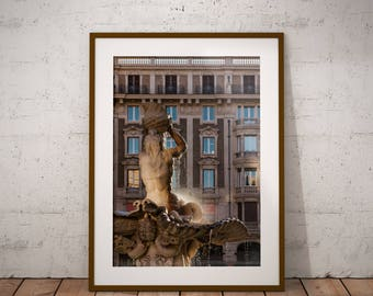 Metal Print - Triton Fountain, Rome Photography - Metalic Aluminum Print, Fine Art, Wall Art, Nature Print, Home Decor, Photography