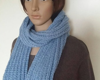 Knit scarf women, Handmade knit scarf, Light blue scarf, Gift for women, winter accessory
