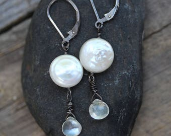 Earrings : Sterling Silver, Moonstone and Coin Pearl, Bridal, Formal earrings, Casual earrings