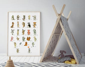 Alphabet poster, nursery decor, Alphabet art, Alphabet print, Nursery art, Nursery alphabet, Kids room decor