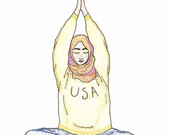 Union and Love Asana Woman in Colorful Hijab Large 8x10 Print