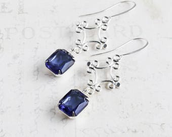 Sapphire Blue Rhinestone Dangle Earrings with Silver Plated Drops