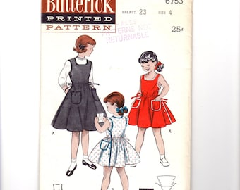 1950s Girls Sleeveless Dress Pattern, Button Down Sides, Square Neckline, Size 4, Breast 23, Butterick 6753, Vintage Sewing Pattern