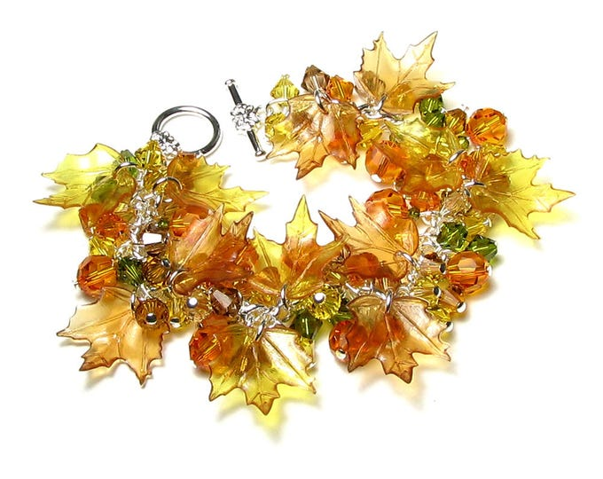 Autumn Jewelry Fall Leaf Swarovski Crystal Cluster Pumpkin Patch Silver Bracelet Maple Leaves Orange Yellow Brown Olive Yellow Thanksgiving