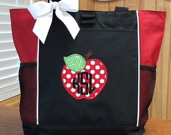 Teacher Tote Bag Apple Personalized Monogrammed Teaching Appreciation Gift