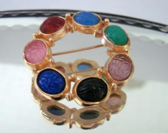 Vintage Scarab Beetle Cabochon Gold Tone Brooch / Multi Color / Jewelry / Jewellery