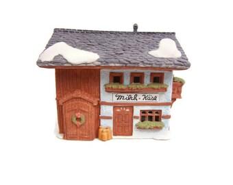 Vintage Dept 56 Alpine Village Series Milch-Kase Milk and Cheese Lighted Building Porcelain Christmas Decor Heritage Village