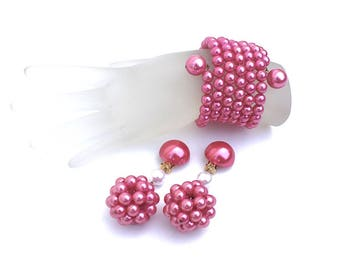 Pink Coil Wrap Bracelet & Clip On Earrings Set ~ Vintage Glass Pearl 7 Strand Memory Wire Cuff and Cluster Ball Dangles