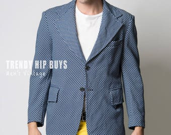 Men's Jacket, Men's Blazer, Men's 70s jacket, Vintage Blazer, Blue blazer, Men's Vintage Blazer, Vintage Blue jacket,Men's Formal Jacket - M