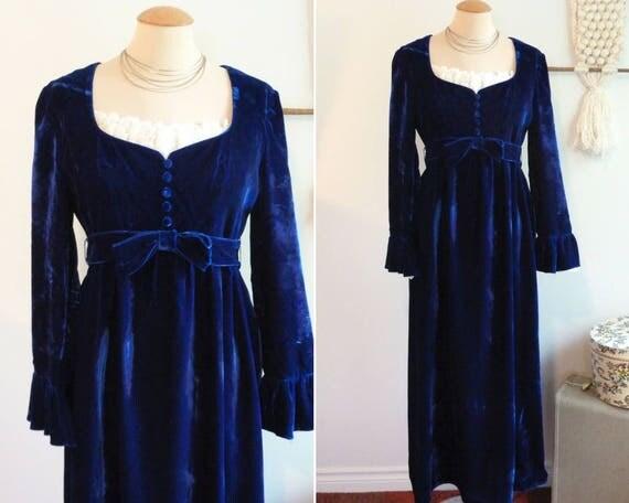 Blue velvet LORRIE DEB long dress