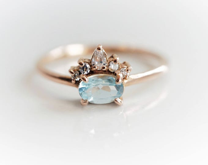 Olina - Oval Aquamarine 14k or 18k , Aquamarine Crown Ring, VS Diamond Aquamarine Ring, Unique Aquamarine Engagement Ring, March Birthstone