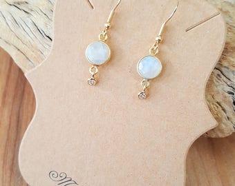 Rainbow Moonstone CZ Gold Filled Earrings / Moonstone Earrings / Dangle Earrings / Drop Earrings / Cubic Zirconia / Stone Earrings