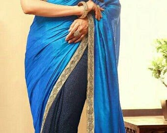 Graceful half and half saree in blue