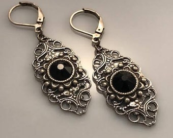Black Swarovski Crystal Earrings - Goth Earrings - Crystal Earrings - Dawn Santucci - Metal di Muse - Biker Earrings - Victorian Earrings