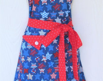 Stars and Stripes Apron, Red White and Blue, Patriotic Apron, July 4th, American Flag, Fourth of July Apron, Womens Full Apron, KitschNStyle