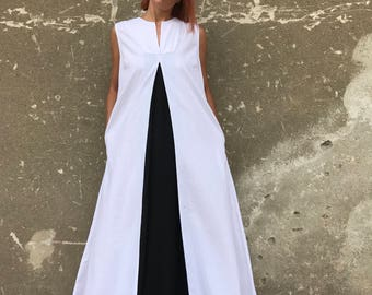 Linen Dress, White Linen Dress, Plus Size Maxi Kaftan, White Summer Dress, Plus Size Linen Dress, Black And White Dress, Avant Garde