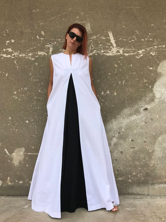 Long white linen dress plus size