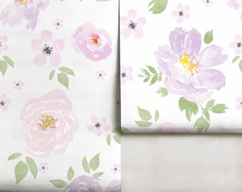 Amara Floral Mural • Violet • Wallpaper, Peel 'n Stick or Traditional Pre-Pasted