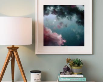Night Sky Painting, Fine Art Skyscape, Clouds Painting Print, Starry Night Art Print