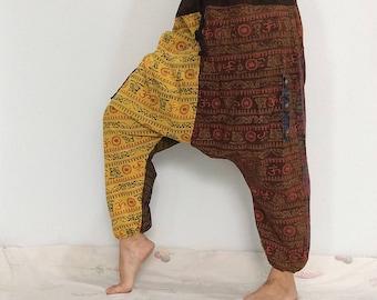 Yellow Brown Funky Ninja Pants, Harem Pants, Drop Crotch Cotton Pants (HR-579)