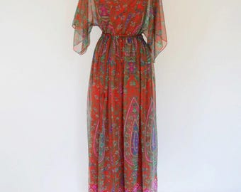 VTG Printed Sheer Maxi Caftan / Cover Up with Optional Slip