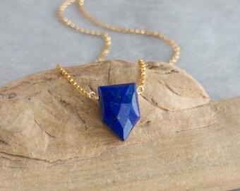 Lapis Lazuli Necklace, Blue Lapis Necklace, Christmas Gift for Her, Geometric Necklace, Pentagon Lapis Pendant, Royal Blue Lapis Jewellery