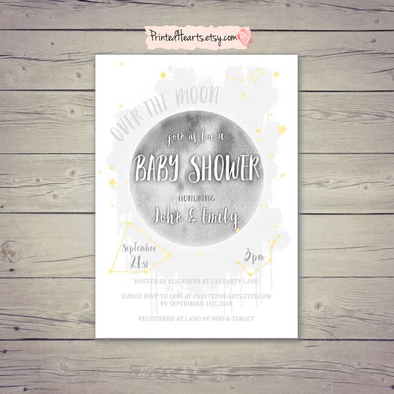 Over The Moon Baby Shower Invitation Moon and Stars Baby Shower