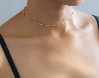 Delicate Gold Necklace  - Satellite Bead Necklace - Dainty Gold Choker - Dew Drop Necklace - Boho Jewelry - Layering Necklace - Gift for Her
