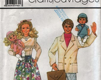 Simplicity 7582 from 1986 vintage pattern Barbie, Ken, and Baby doll outfits UNCUT