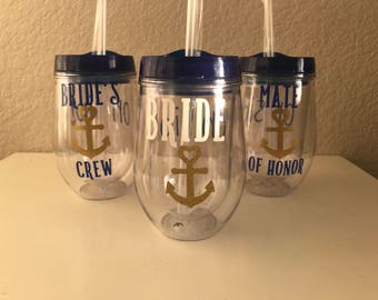 Nautical Bridal Party Tumblers, set of 3
