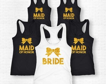 Bride Bow Style Shirt, Maid Of Honor Bow Style Shirt, Cute Bow Party Shirt, Matron Of Honor Shirt, Bridal Party Set Of Shirts