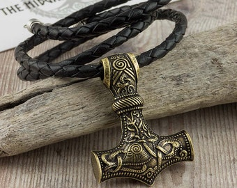 Viking Thor's Hammer Bronze Colour Norse Mjolnir Pendant With Real Leather Necklace