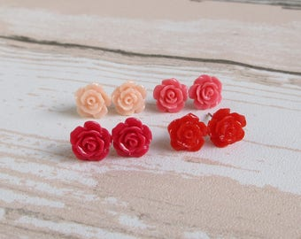 Flower Stud Earrings, Dainty Rose, Siam Red Apple Red, Hot Pink, Baby Pink, Flower Girl Jewelry, Bridesmaid Gift
