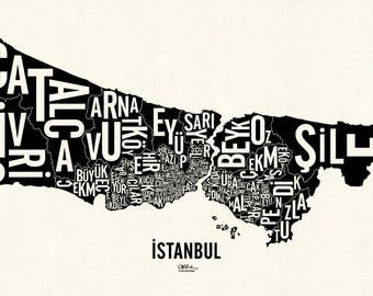 "İSTANBUL and its 39 Districts — 24x14"" Map Poster — Screen Print"