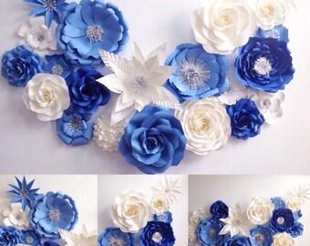Blue Paper flower Backdrop