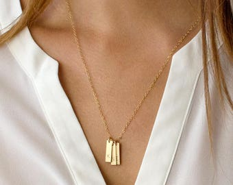 Vertical Bar Necklace, Personalized Initial Bar Necklace, Gold Filled, Sterling Silver Mom Necklace, Gifts for Mom, Grandmother, N210